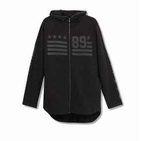 Long Hoodie Sudadera Pull And Bear Negra Larga Chamarra