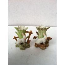 Antiguos Aguinaldos De Porcelana Fina 4 Cm Par De Conejos