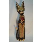 Figura Gato De Madera Tallado Y Pintado De 50 Cm De Alto