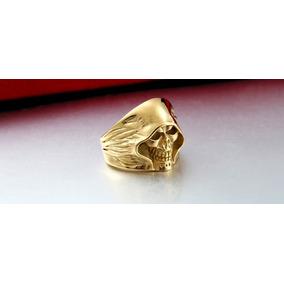 Banhado Ouro - Anel Skull - Aço Inox Tamanho 25