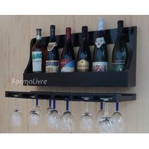 Porta Taças E Prateleira Decorativa Vinho Adega E Bar Preto