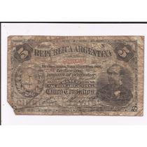 Billete Argentina 5 Ctvs. 1891, Serie C Circulado