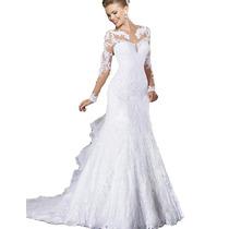 Vestido Noiva Sereia Manga Longa Importado Sob Encomenda