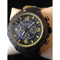 Nautica Reloj Negro/amarillo Nuevo Original 100%