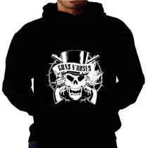 Blusa Moletom Guns N Roses Capuz Bolso Banda Rock Moleton