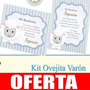 Kit Imprimible Ovejita Varón Invitaciones Estampitas Candy