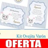 Kit Imprimible Ovejita Varón Invitaciones Estampitas Candy