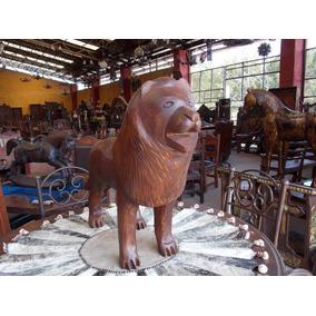 Escultura De Leon Tallada Madera De Fresno.