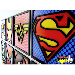 10 Quadro Super Heróis Relevo Promoção Oferta Frete Grátis