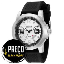 Relógio Masculino Seculus,, Pulseira De Silicone 10 Atm