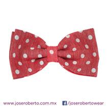 Moño/pajarita/bowtie Algodón Color Rojo Con Lunares Blancos