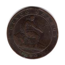 Moneda España 5 Centimos 1870 Km#662