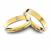 Alianças De Ouro 18k Anatômica Com Diamantes (4.0mm Largura)
