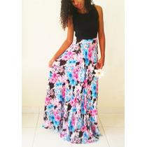 Vestido Longo Verão Estampa Floral, Tam 38