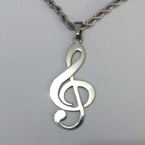 Corrente Pingente Clave De Sol Nota Musical Prateado Aço 06