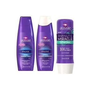 Aussie Kit Moist Shampoo+ Condicionador + 3 Minutos Miracle