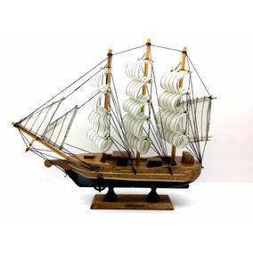 Barco Navio Caravela Decoração Enfeite Madeira Tecido 30cm