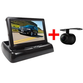 Câmera Ré Borboleta Automotivo Monitor Tela 4.3 Retrátil