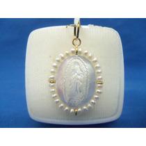 Medalla De La Virgen De Guadalupe Oro De 14 K Y Madre Perla