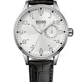 Hugo Boss Dial De Plata Cuero Negro Señoras Reloj 1502312