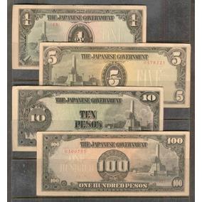 Coleccion De 4 Billetes De Filipinas Ocupacion Japon