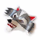 Máscara Antifaz Lobo Feroz Animales Gris Plateado Disfraz