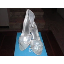Sandalias Nine West Color Plata Material Tela Hermosas