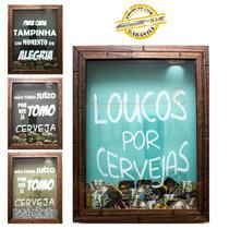Quadro Porta Tampinhas Cerveja Madeira Mdf Decoração 20x25cm