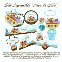 Kit Imprimible Arca De Noe Baby Shower Mesa De Dulces Postre