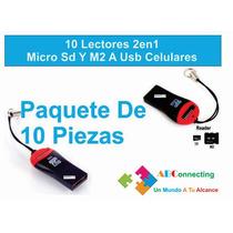 10 Lectores 2 En 1 Micro Sd Y M2 A Usb Celulares