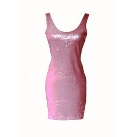 Vestido Feminino Paetê Rosa Curto Festa Elegante