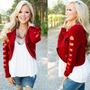 Chaqueta Corta Roja Fhasion Blazer Casual Jacket Coat Mujer