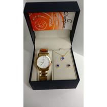 Kit Relógio Brinco E Colar Champion Elegance Cn26411w E Nf