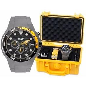 Relógio Orient Seatech Solar Mbttc014 Titanium + Pulseiras