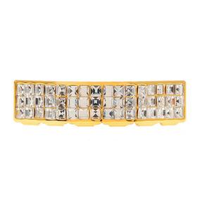 Grillz Gold Pedras Diamante Dourado Dente Pronta Entrega