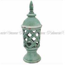 Potiche Cerâmica Verde Design Vazado Imitando Marca Do Tempo