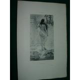 Grabado Antiguo Original Francia Dubufe Baños Desnudo Dama