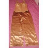 Conjunto Bronce De Corset Y Pantalon Talla L Ajustable
