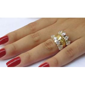 Anel De Prata 950 Ouro Par De Aparadores Meia Aliança Pedras