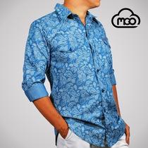 Camisas Mgo Manga Larga Estampadas Chambray