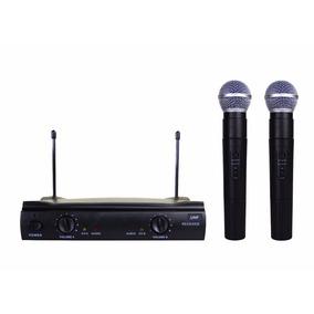 Microfone S/ Fio Uhf Profissional Duplo De Mão Igreja Festas