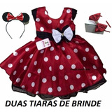 Vestido Festa Minnie Vermelho E 2 Tiara Minie Promoção