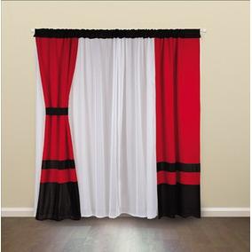 cortina negro blanco rojo voile negra blanca roja paos