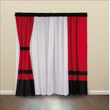 Cortina Negro Blanco Rojo Voile Negra Blanca Roja 4 Paños