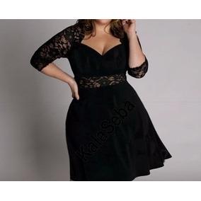 Vestido Veludo Cotelê E Renda Moda Maior Gordinha
