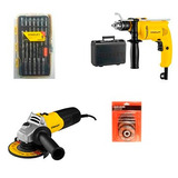 Amoladora Angular + Taladro 700w K + Kit Accesorios Stanley