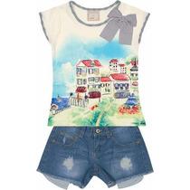 Conjunto Marisol Blusa Em Meia Malha + Short Em Jeans