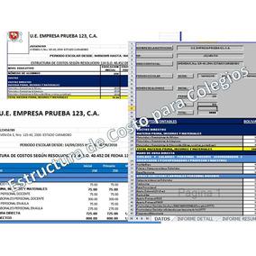 Estructura De Costos Para Colegios En Excel