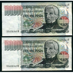 Argentina 2 Billetes Correlativos 100.000 Pesos Bottero 2502