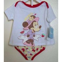 Disney Original Conjunto Remera Minnie Y Bombachon Estampado